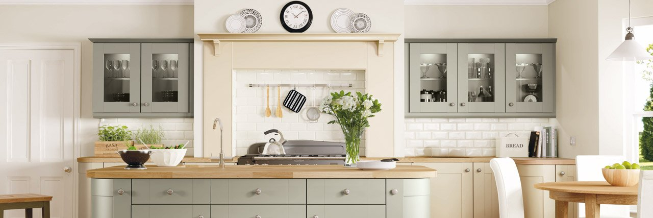 Symphony Kitchen Shaker Style Rockfort Ivory and Cranbrook-Sage