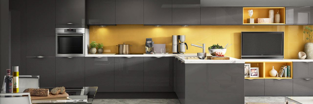 Symphony Kitchen Inline design Gloss Ice Anthracite with yellow