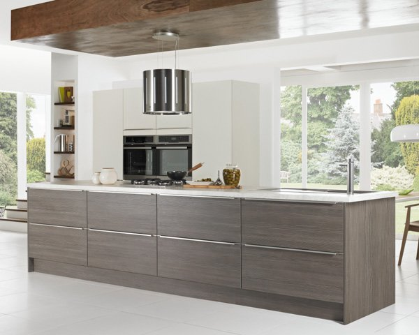 Symphony Kitchen Inline Style Matt Ivory and Avola Grey Textured