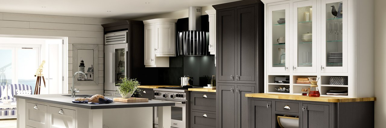 Symphony New England Style Kitchen Black and Chalk White Finish