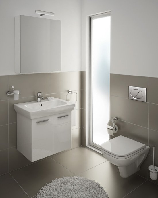 Washbasin unit in High Gloss White and Wall-hung Toilet