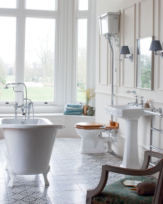 Burlington Bathroom Suite with High Level WC and Basin Pedestal