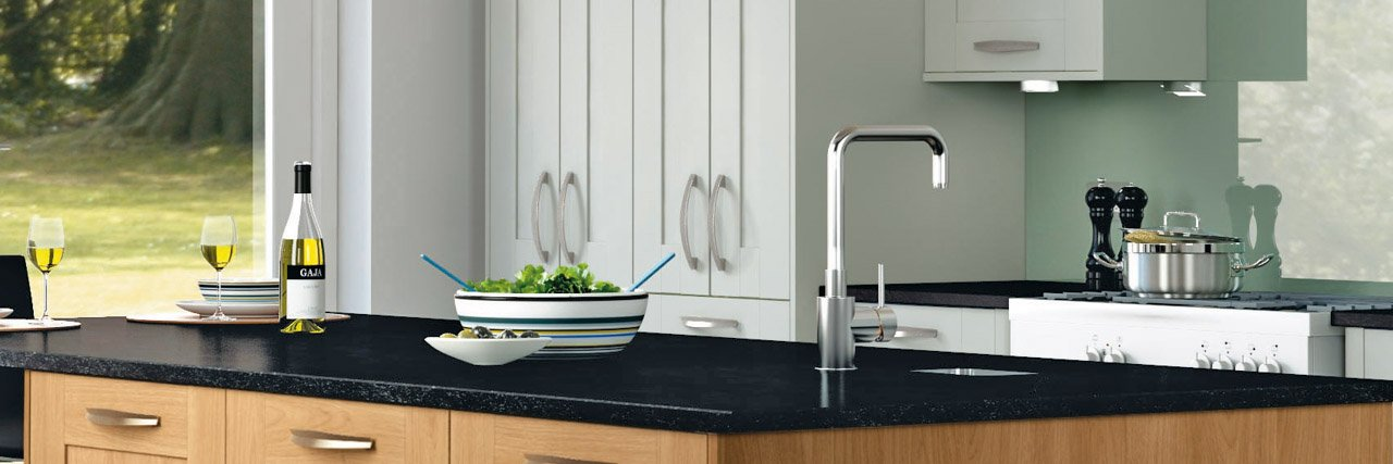 Symphony Kitchen Shaker Style Cranbrook Platinum & Georgia Oak
