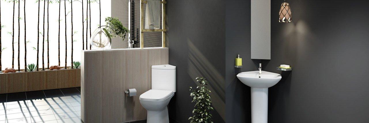 Corner bathroom basin and corner WC